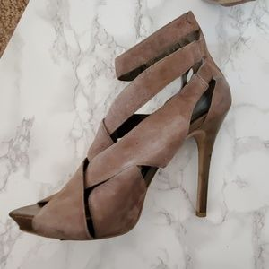 BCBGirls tan suede cutout platform high heels